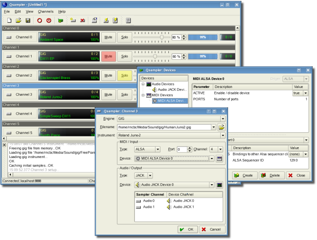 Qsampler - A LinuxSampler Qt GUI Interface